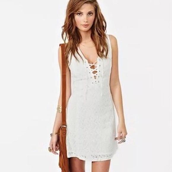 Bb Dakota White Lace Dress Xs2